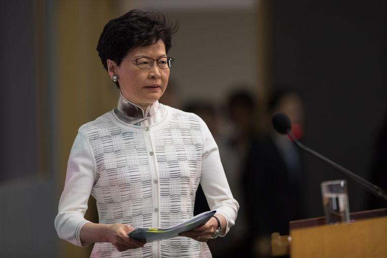 Chief Executive Carrie Lam van Hongkong bij een persconferentie.  Beeld EPA