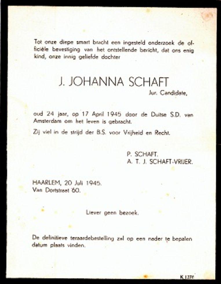 De rouwkaart voor Hannie Schaft.  Beeld Nationale Hannie Schaft Stichting