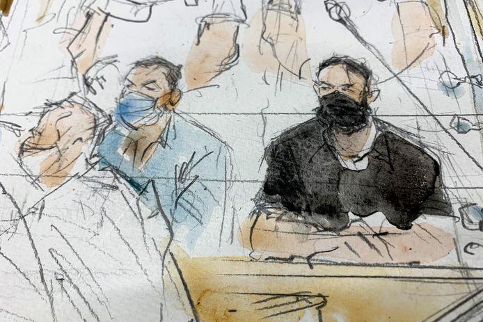 Een schets van de zitting van vandaag. In het zwart: Salah Abdeslam.