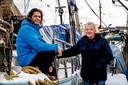 Jouke (links) en Ton Lemmers, bij de klassieke klipper Stella Maris