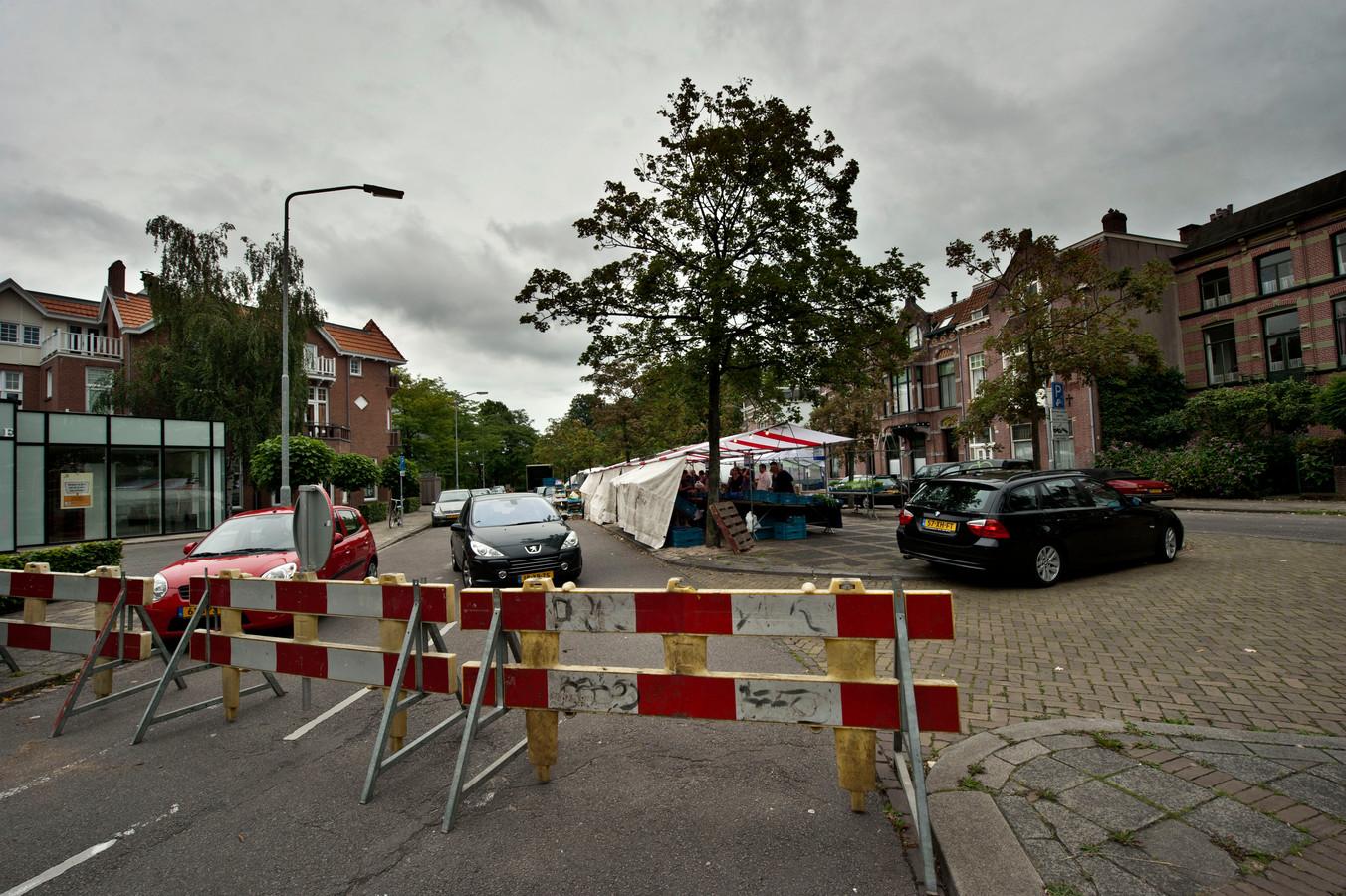 Een eerdere afsluiting van de Vijverstraat in 2013 tijdens de zaterdagmarkt.