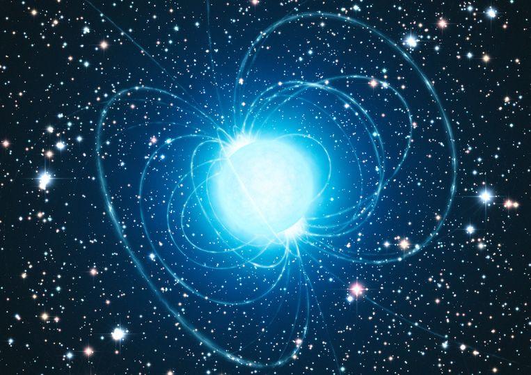 Illustratie van een neutronenster met een sterk magneetveld. Beeld ESO/L. Calçada