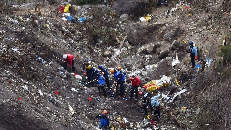 Het vliegtuig van Germanwings stortte in de Alpen neer. Beeld AFP