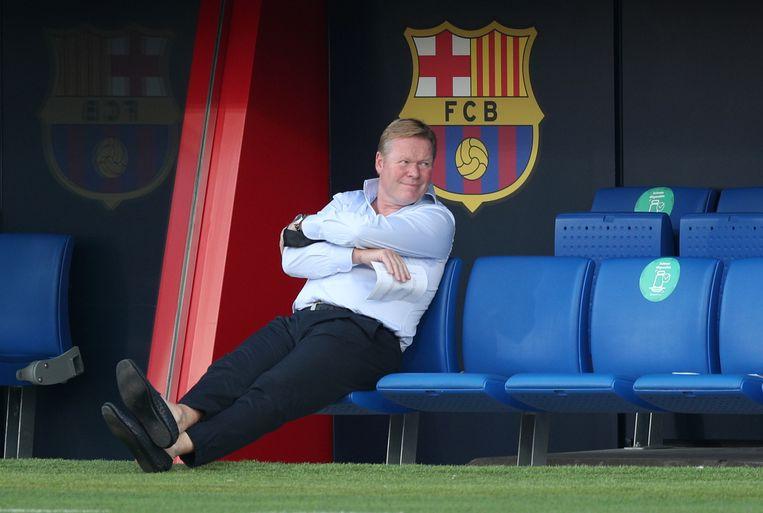 Ronald Koeman in het Johan Cruyff stadion in Barcelona. Beeld REUTERS