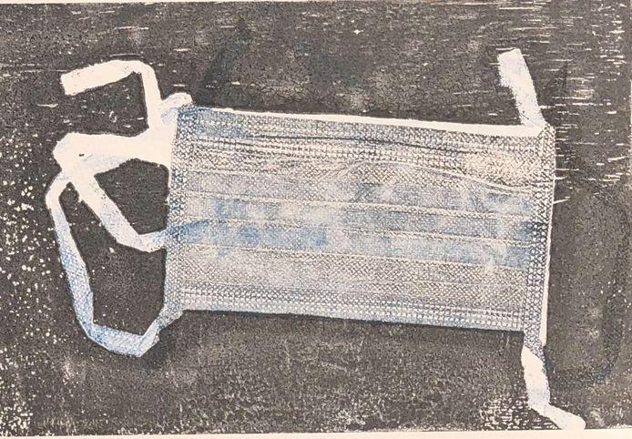 'Mondkapje VI'. Monoprint door Peter Knipmeijer