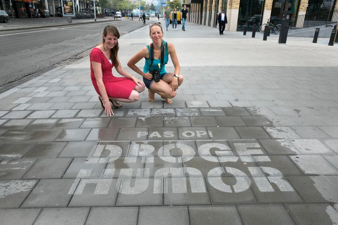 Kunstenaressen Mariëlle Coppes en Eliška Slováková  bij de Heuvel in Eindhoven.