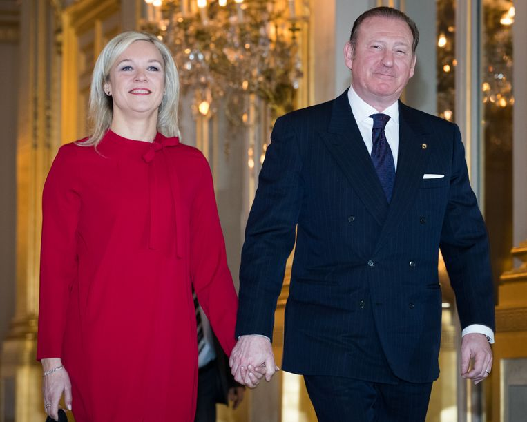 Politici Sophie Pécriaux (PS) en Rik Daems (Open Vld) vorig jaar. Het koppel is intussen veertien jaar samen. Beeld BELGA