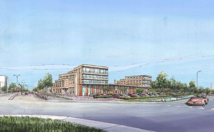 Schets van het Food Experience Center zoals dat op de oude Ben van Dijk-locatie zou kunnen komen. De ondernemers in het centrum in Uden vinden dat een slecht plan.