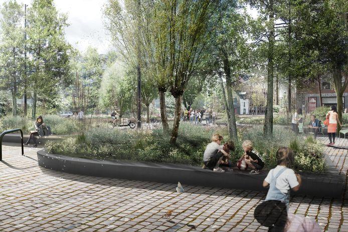 Het Franciscanessenplein bij de Nieuwe Mark in Breda, zoals dat er in de toekomst gaat uitzien.