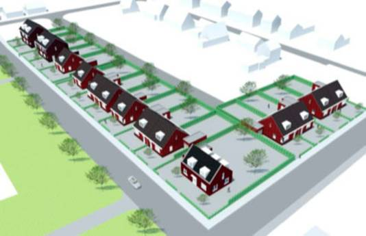 De 18 woningen in bouwproject Boudewijngroeve in Ossendrecht bij de Meiduinweg.