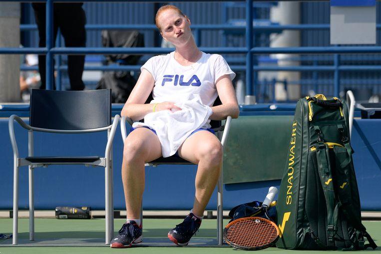 Belgian Alison Van Uytvanck pictured during a training session ahead of the 118th US Open Grand Slam tennis tournament, at Flushing Meadow, in New York City, USA, Sunday 26 August 2018. BELGA PHOTO YORICK JANSENS Beeld BELGA