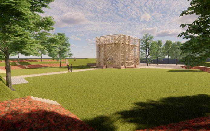 Het definitieve ontwerp van de houten toren op Bastion IX in Brielle van architecten Ro Koster en Ad Kil.