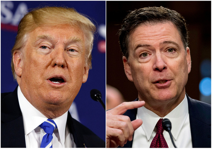 President Donald Trump (links) en voormalig FBI-directeur James Comey.