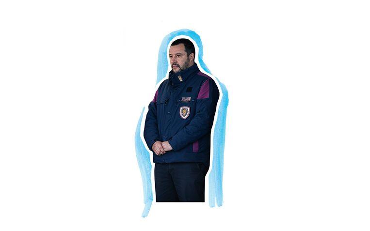 Matteo Salvini in uniform. Beeld Foto: Getty, Bewerking: Studio V