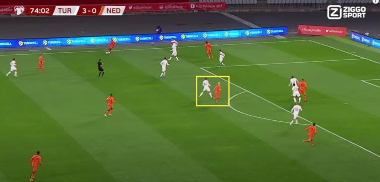 Klaassen met een klassieke diepe loopactie richting zestien, voorafgaand aan zijn goal tegen Turkije. Beeld Screenshot Ziggo Sport