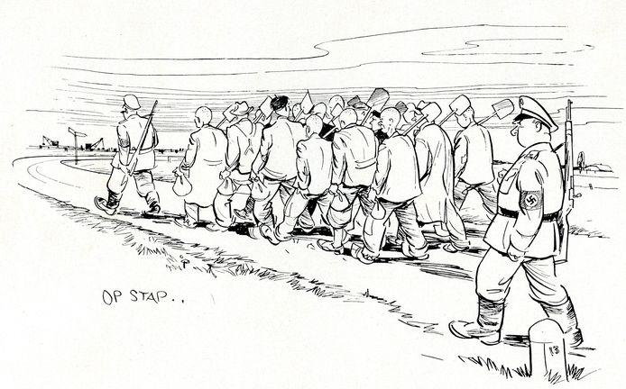 Van het graven van de In het boek 'Van Amersfoorter tot IJsseliniegraver' is een tekening opgenomen van de stoet dwangarbeiders op weg naar de tankgracht. Gemaakt door verzetsstrijder Hendrik Bron die in kamp Amersfoort zat.