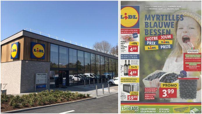 De nieuwe supermarkt in Sint-Genesius-Rode (links) en de tweetalige folder die verspreid werd in Beersel.