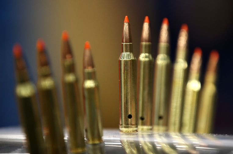 (FILES) In this file photo taken on May 5, 2018, bullets are displayed during the NRA Annual Meeting & Exhibits in Dallas, Texas. - Walmart announced September 3, 2019, it will halt sales of ammunition for handguns and some military-style rifles, calling the status quo on guns in the United States