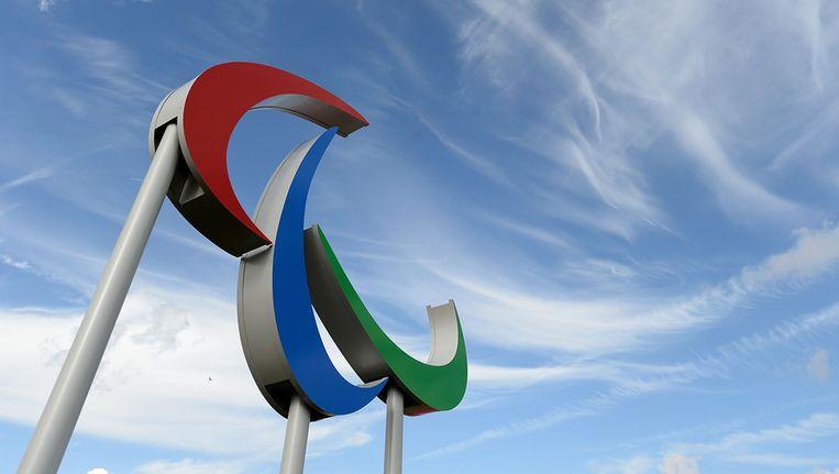Het logo van de Paralypics prijkt ondertussen ook al boven het olympisch park in Londen Beeld GETTY