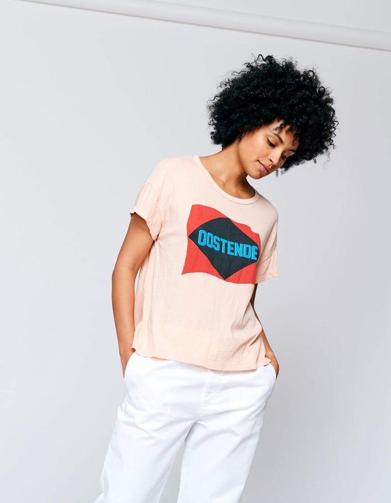 Deze T-shirts, genaamd Ayo, worden bedrukt met 'Oostende'.