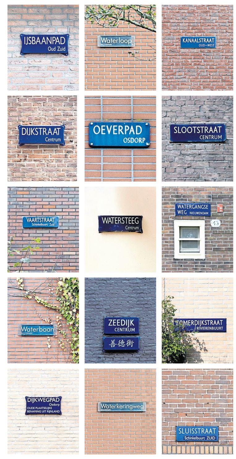 De ruim vierduizend straten in Amsterdam zijn veelal vernoemd naar kunstenaars, politici, bloemen of bomen. Hobbyfotograaf Mirjam Schiethart merkte op dat er ook veel straatnamen zijn die verwijzen naar water, van de Sluisstraat tot het Oeverpad.  Beeld Mirjam Schiethart