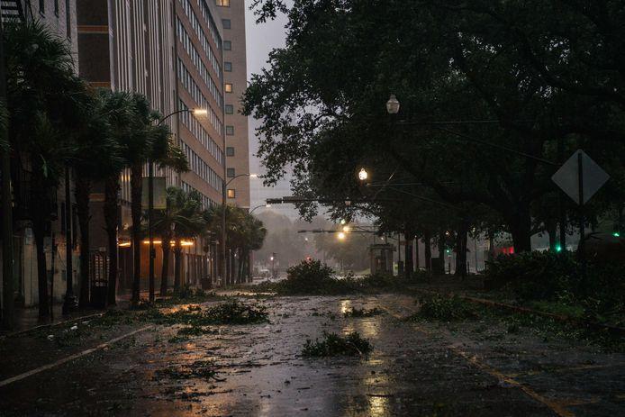 Puin in de straten van New Orleans.