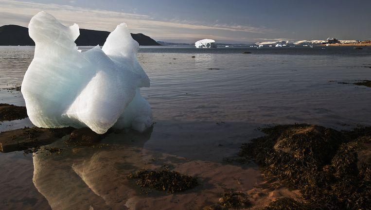 Een flink stuk ijs op de westkust van Groenland bij de Straat van Nares. Beeld getty