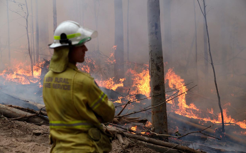 12 januari 2020. Een brandweerman vecht in het Australische Bodalla tegen de bosbranden.