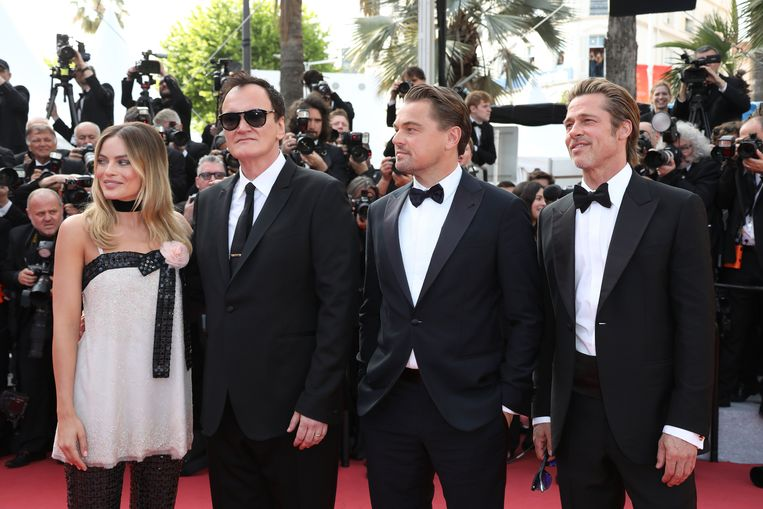 """LEONARDO DICAPRIO BRAD PITT MARGOT ROBBIE QUENTIN TARANTINO attends the screening of """"Once Upon A Time In Hollywood"""" during the 72nd annual Cannes Film Festival on May 21, 2019 in Cannes, France."""
