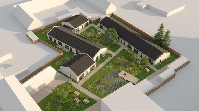 Een illustratie van de geplande 13 nieuwe woningen in de tuin achter het voormalige klooster aan de Poeijersstraat in Eindhoven. Een plan van Woonbedrijf voor woonvereniging 't  Rondeel.