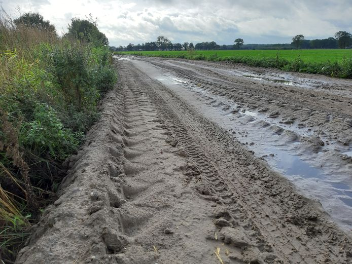 Het Koelstraatje is twee meter breder gemaakt met geel zand. Illegaal, zo stelt de Heemkundige Kring Hilvarenbeek.