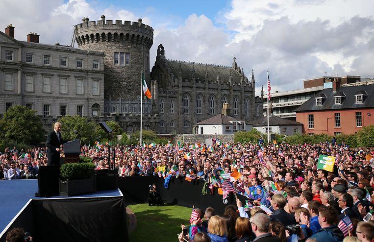 Joe Biden spreekt als vice-president in Dublin. Beeld Hollandse Hoogte / PA Media