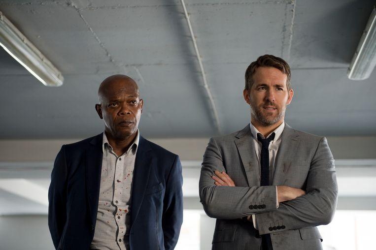 Samuel L. Jackson, (links) en Ryan Reynolds in 'The Hitman's Bodyguard'. Beeld Foto AP