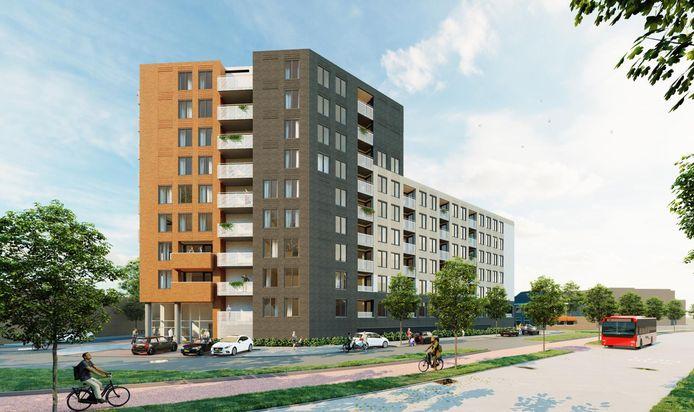 De bouw van het nieuwe appartementencomplex aan de kop van de Zuiderval begint in september.