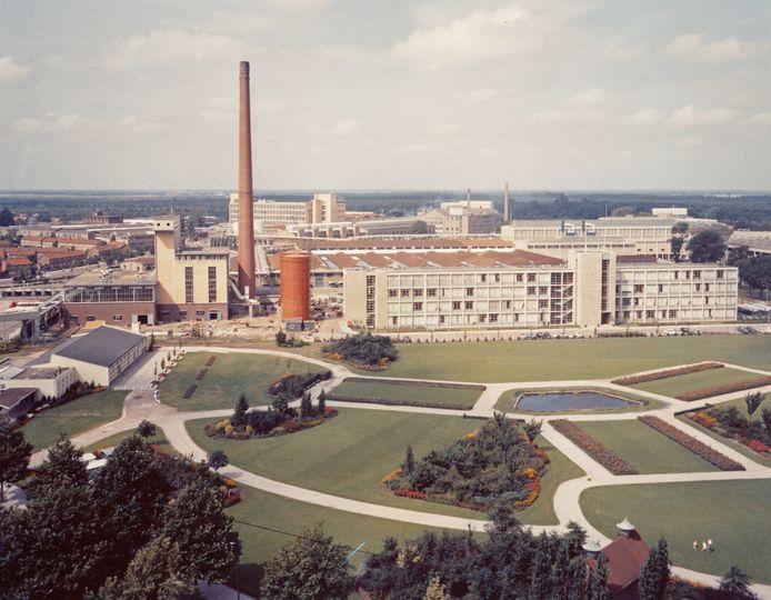 Het Gloeilampplantsoen aan de Beukenlaan/Achtseweg Zuid in 1960. Met daar achter de toen nog niet volledig voltooide gebouwen van Strijp-T.