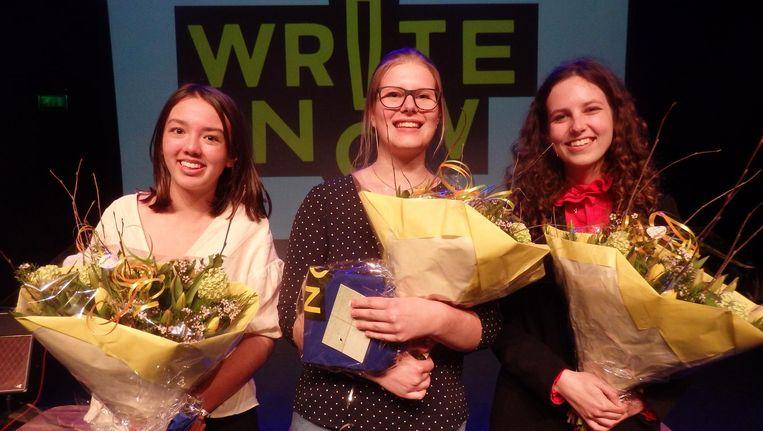 Kirsten Meiring (brons, boekenbon van 75 euro), Liselotte Schipper (zilver, 150 euro) en Emma Stomp (goud, 250 euro):