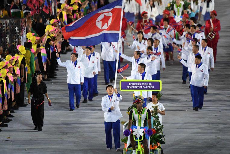 Tijdens de Olympische Winterspelen van 2018, in het Zuid-Koreaanse Pyeongchang, trokken Noord- en Zuid-Korea nog samen op.  Beeld AFP