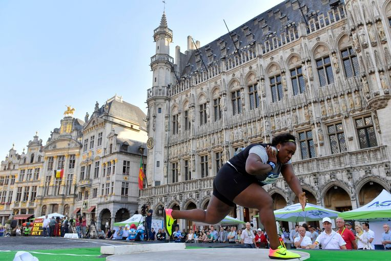 BRUSSELS, BELGIUM - SEPTEMBER 08 : Michelle Carter of the USA in action during the shot put competition of the Diamond League Memorial Van Damme at the Grand Place of Brussels on September 08, 2016 in Anderlecht, Belgium , 8/09/2016 ( Photo by Peter De Voecht / Photonews Beeld Photo News