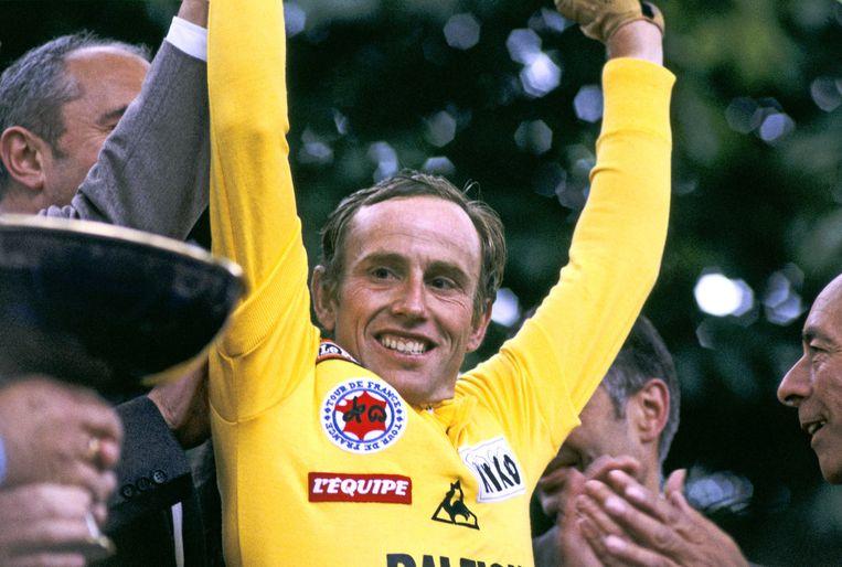 Joop Zoetemelk mocht als tweede Nederlander de gele trui mee naar huis nemen. Hij won de Tour in 1980. Beeld ANP