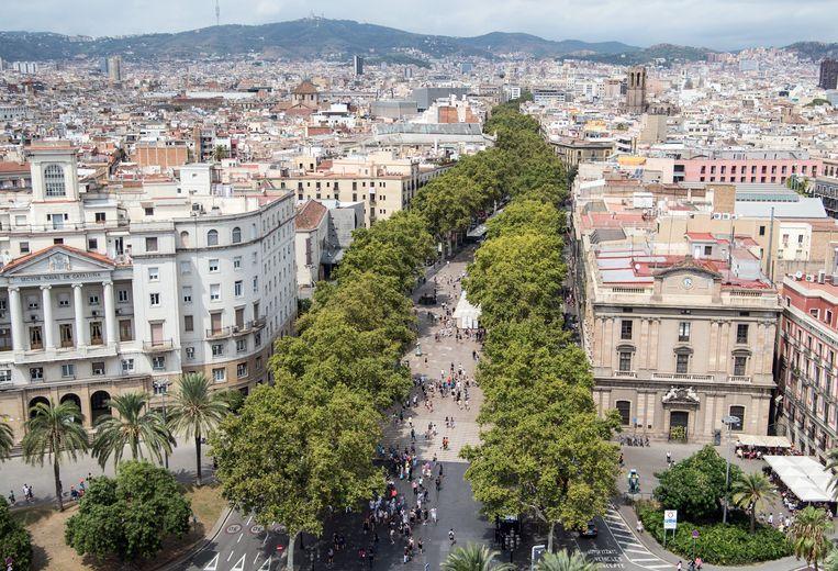 Las Ramblas in Barcelona, waar vorige week donderdagavond de aanslag plaatsvond. Beeld Getty Images
