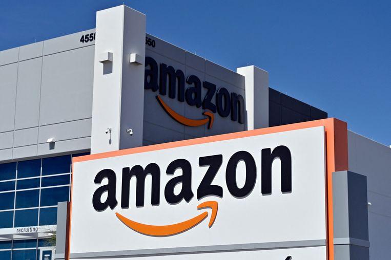 Een distributiecentrum van Amazon. Beeld AFP