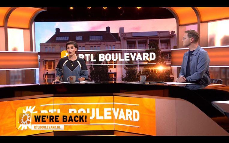 Vivianne van den Assem (l) en Luuk Ikink (r) in RTL Boulevard. Beeld RTL