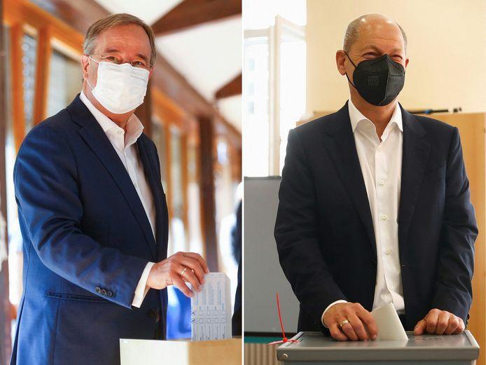 De in de peilingen favoriete SPD-kanselierskandidaat Olaf Scholz (rechts) en zijn CDU/CSU-concurrent Armin Laschet.