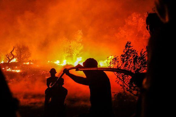Archiefbeeld. Brandweermannen bestrijden bosbranden in Portugal.