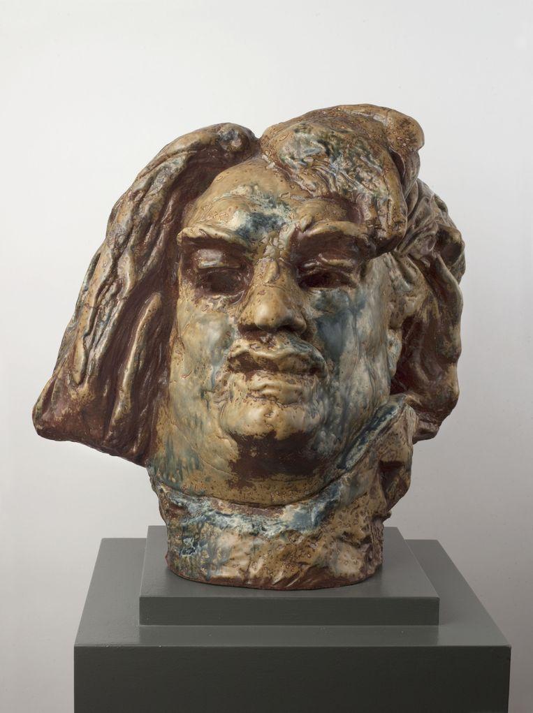 Auguste Rodin en Paul Jeanneney: Balzac, tête monumentale. (Ca. 1899) Beeld Bonnefantenmuseum Maastricht