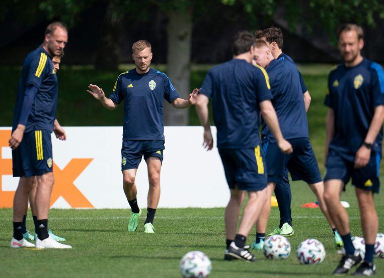 De Zweedse spelers tijdens de training van donderdag. Beeld AFP