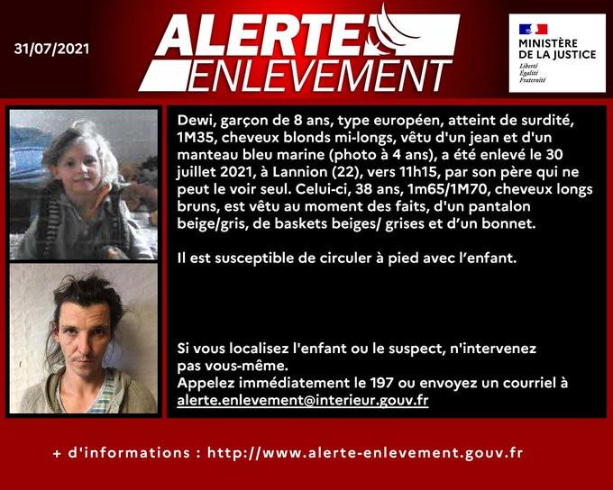 L'alerte enlèvement lancée par le ministère français de la Justice