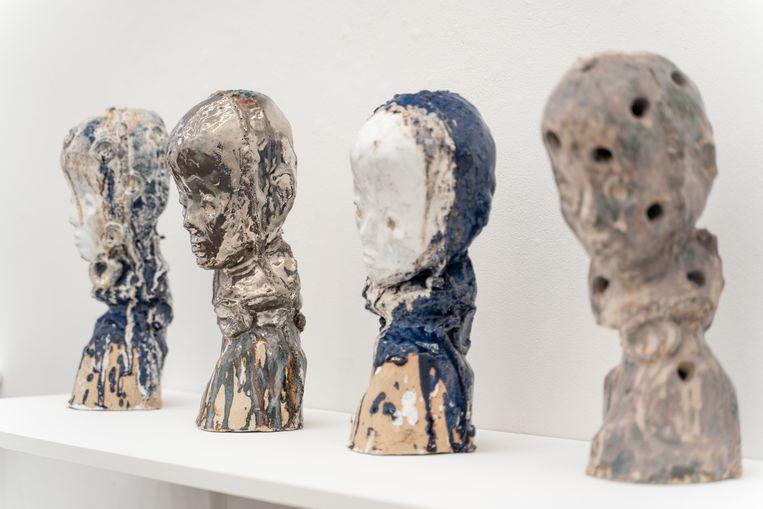 Verschillende werken van Johan Tahon bij Gerhard Hofland, met de titel Mondlicht. Beeld Jonathan de Waart