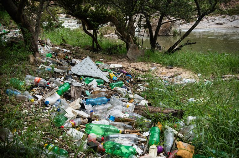 Aangespoeld afval aan de kant van de Kleine Jukskei-rivier. Beeld Bram Lammers