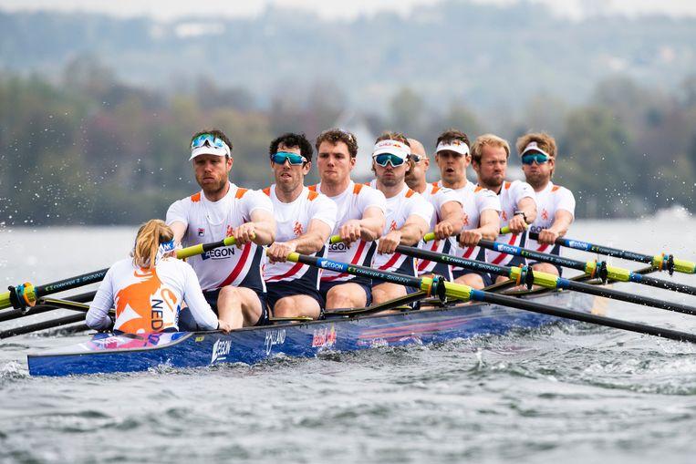 De Holland Acht tijdens de finale op de EK roeien in Varese.  Beeld Merijn Soeters